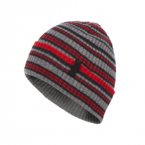 Black Diamond Cardiff Beanie - Smoke_Hyper Red Stripe