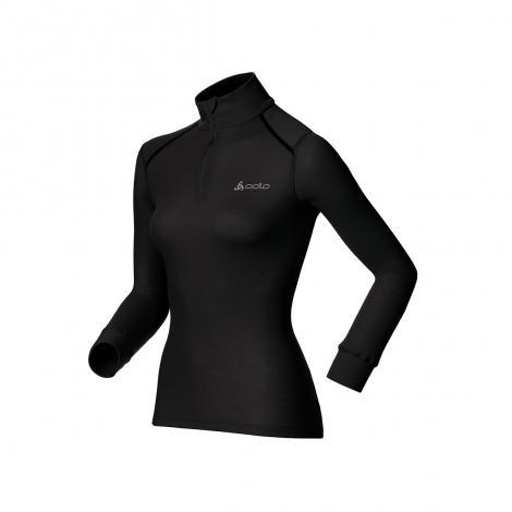 Camiseta Mujer Odlo ML Warm zip - Negro