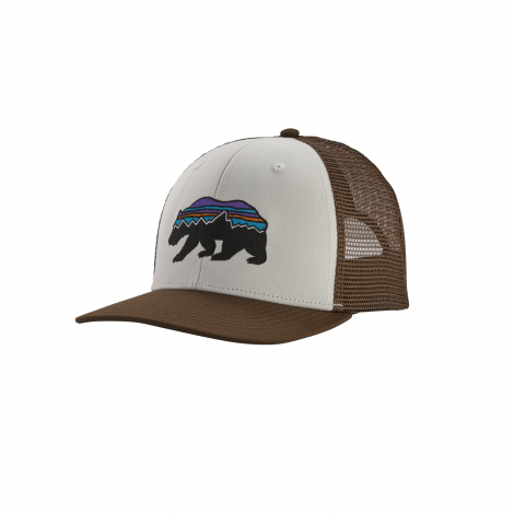 Patagonia Fitz Roy Bear Trucker Hat - White w/Bristle Brown