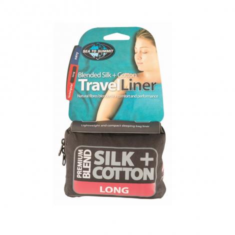 Sea to Summit Drap de Sac Premium Soie + Coton Rectangulaire Long
